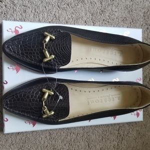 A Testoni Femme Brown Croc Flats
